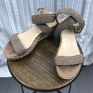 Stuart Weitzman Woven Ankle Strap Wedge Sandals